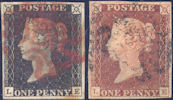 1840 1d Black/1841 1d Red Plate 2 'LE' Matched pair