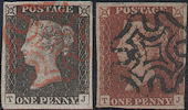 1840 1d Black/1841 1d Red-brown Plate 2 'TJ' matched pair States 1 & 2