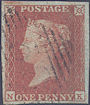 1851 1d Red Plate 126 'NK'