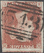 1847 1d Red Plate 74 'KC' Watermark Inverted