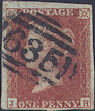 1853 1d Red Plate 175 'JH'
