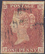 1852 1d Red Plate 155 'PC' State 2