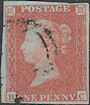 1852 1d Orange-brown Plate 150 'BC'