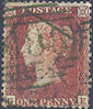 1855 1d Red C2uc Plate 202 'GE' Green Cancel