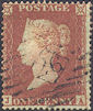 1851 1d Red CE2 Plate 98 'JA' Archer Perf