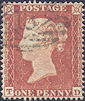 1854 1d Red C1 Plate 166 'TD'