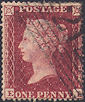 1857 1d Rose-red C11 Plate 52 'CL'