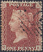 1855 1d Red C4 Plate 5 'MK'