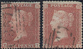 1855 1d Red C5/C6 Plate 15 'EI' Matched pair