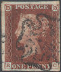 1841 1d Deep Red-brown Plate 14 'RC' Basal Shift
