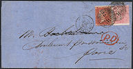 1857 1d Red-orange C9(2) Plate 35 'AJ'/SG66 4d Rose