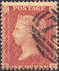 1857 1d Red-Orange C9(2) Plate 37 'EF'
