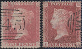 1857 1d Pale Red C9(3)/Rose-red C11 Plate 45 'FG' Matched